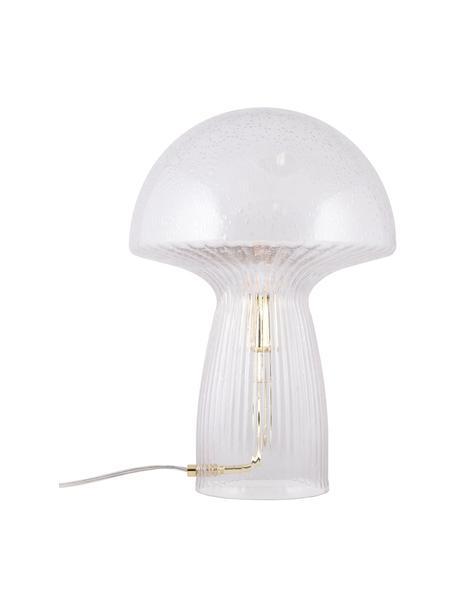Lámpara de mesa de vidrio de diseño Fungo, Pantalla: vidrio, Cable: plástico, Transparente, dorado, Ø 30 x Al 42 cm