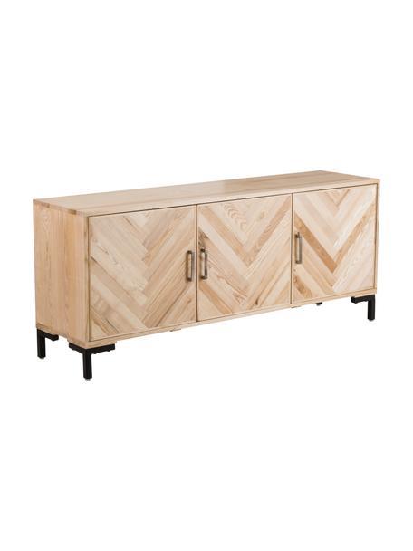 Komoda z litego drewna jesionowego z drzwiczkami Leif, Korpus: lite drewno jesionowe, la, Nogi: metal malowany proszkowo, Drewno jesionowe, S 177 x W 75 cm