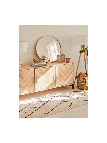 Dressoir Leif met deuren van massief essenhout, Frame: massief essenhout, gelakt, Handvatten: gecoat metaal, Poten: gepoedercoat metaal, Essenhoutkleurig, 177 x 75 cm