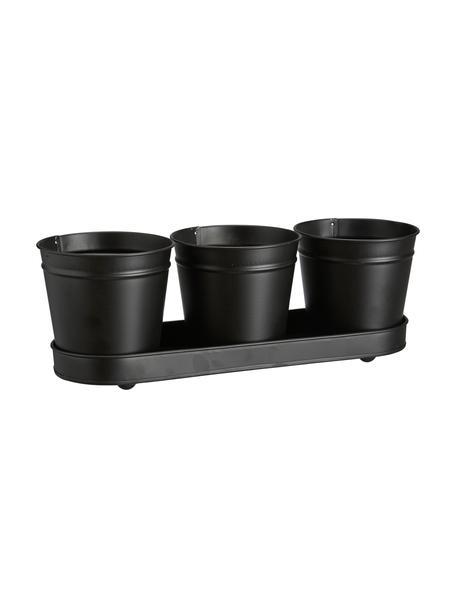 Plantenpottenset Nilla, 4-delig, Gecoat metaal, Zwart, Set met verschillende formaten