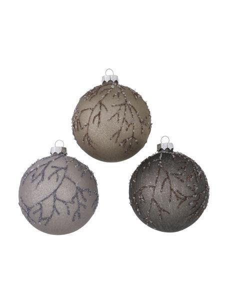 Weihnachtskugeln Ronka Ø 8 cm, 3 Stück, Lila, Braun, Silberfarben, Ø 8 cm