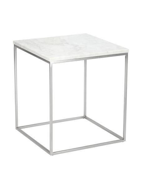 Marmor-Beistelltisch Alys, Tischplatte: Marmor, Gestell: Metall, pulverbeschichtet, Tischplatte: Weiss-grauer Marmor, leicht glänzend Gestell: Silberfarben, matt, 45 x 50 cm