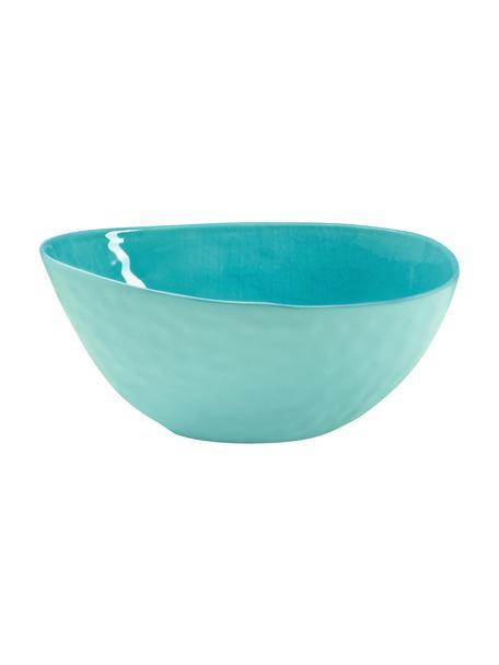Porzellan-Servierschüssel à la Plage mit Craquelé-Glasur matt/glänzend, L 25 x B 18 cm, Porzellan, Craquele-Glasur, Türkis, 18 x 25 cm