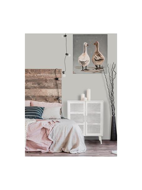Credenza alta in legno Cayetana, Piedini: legno di bambù verniciato, Bianco, Larg. 80 x Alt. 101 cm