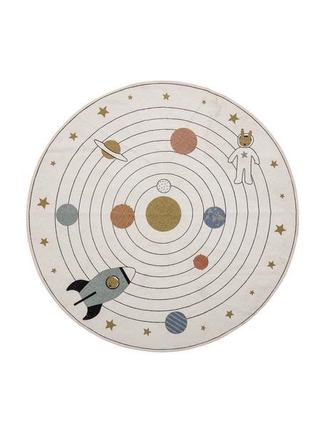 Rond vloerkleed Space, 98% katoen, 2% gemengde vezels, Beige, multicolour, Ø 130 cm (maat S)