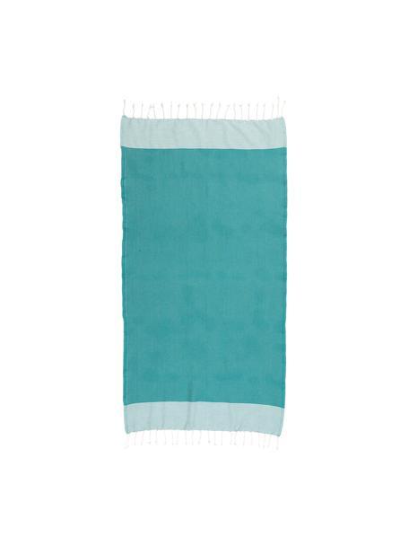 Hamamdoek Ibiza, 100% katoen, zeer licht materiaal, 200 g/m², Blauwgroen, wit, 100 x 200 cm