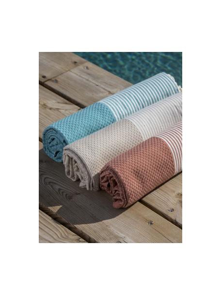 Telo mare in cotone Ibiza, 100% cotone, qualità molto leggera, 200 g/m², Blu verde, bianco, Larg. 100 x Lung. 200 cm