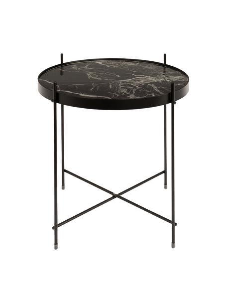 Stolik pomocniczy ze szklanym blatem z imitacją marmuru  Cupid, Stelaż: metal malowany proszkowo, Blat: szkło powlekane folią imi, Czarny, Ø 43 x W 45 cm