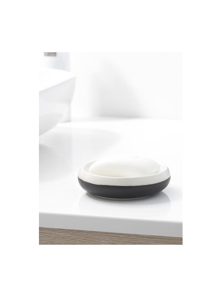 Porseleinen zeepbakje Sphere, Porselein, Zwart, wit, Ø 12 x H 3 cm