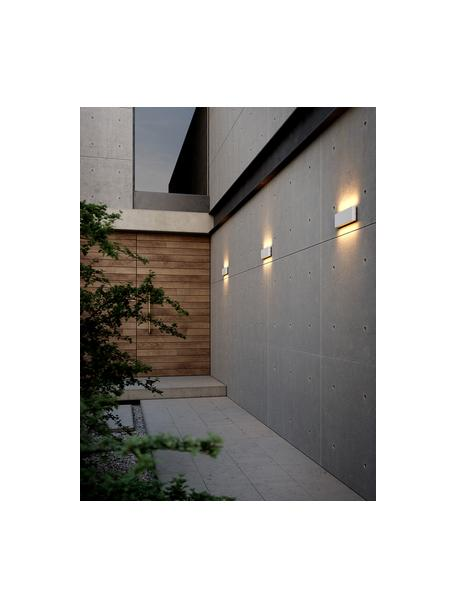 Outdoor LED wandlamp Kinver, Lamp: gecoat aluminium, Diffuser: glas, Gebroken wit, 26 x 9 cm
