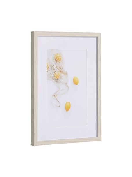 Oprawiony druk cyfrowy Leyla Bag of Lemons, Biały, żółty, S 30 x W 40 cm
