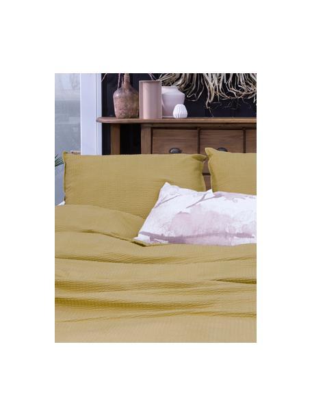 Seersucker dekbedovertrek Basic & Tough, Weeftechniek: , Honinggeel, 140 x 220 cm + 1 kussen 60 x 70 cm