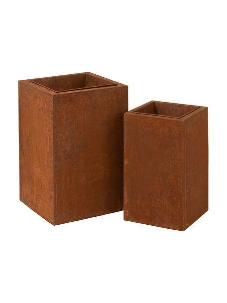 Set de macetas grandes Rusty, 2uds., Metal, Marrón, marrón rojizo, Set de diferentes tamaños