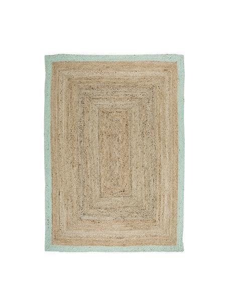 Handgefertigter Jute-Teppich Shanta mit mintgrünem Rand, 100% Jute, Jute, Mintgrün, B 120 x L 180 cm (Grösse S)