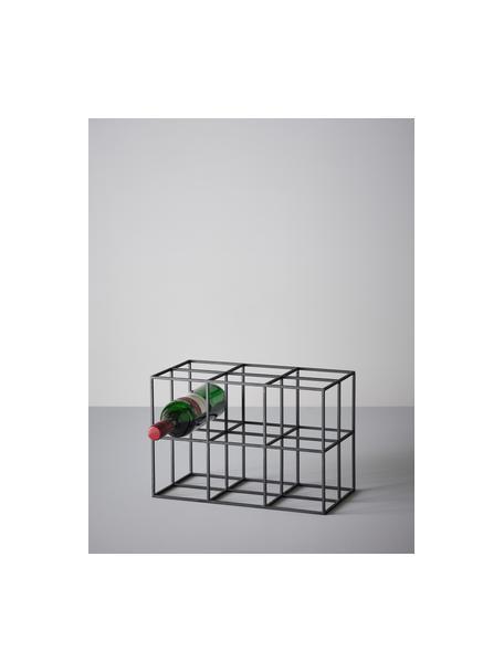 Portabottiglie in metallo nero per 6 bottiglie Vinnie, Metallo verniciato, Nero opaco, Larg. 37 x Alt. 25 cm