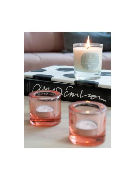 Geurkaars Exclusive No 1 (sandelhout & vanille), Houder: melkglas, Transparant, wit, grijs, Ø 8 x H 9 cm