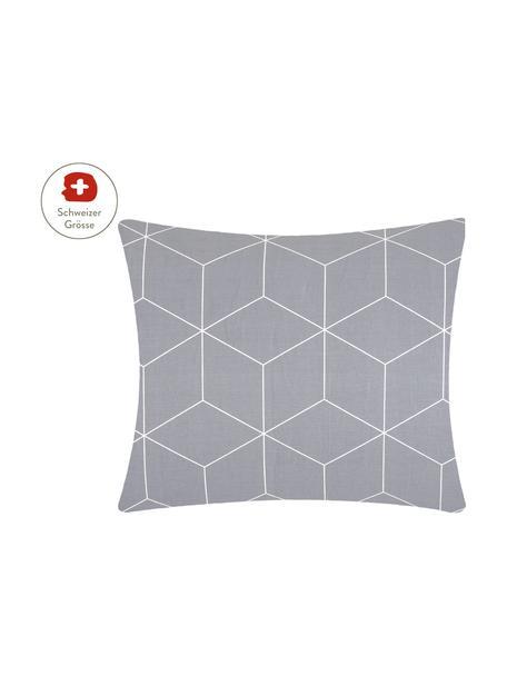 Baumwoll-Kissenbezug Lynn mit grafischem Muster, 65 x 65 cm, Webart: Renforcé Fadendichte 144 , Grau, Cremeweiss, 65 x 65 cm