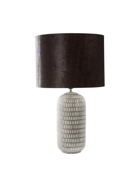 Fluwelen tafellamp Svensson, Lampenkap: fluweel, Lampvoet: keramiek, Zwart, grijs, Ø 30 x H 53 cm