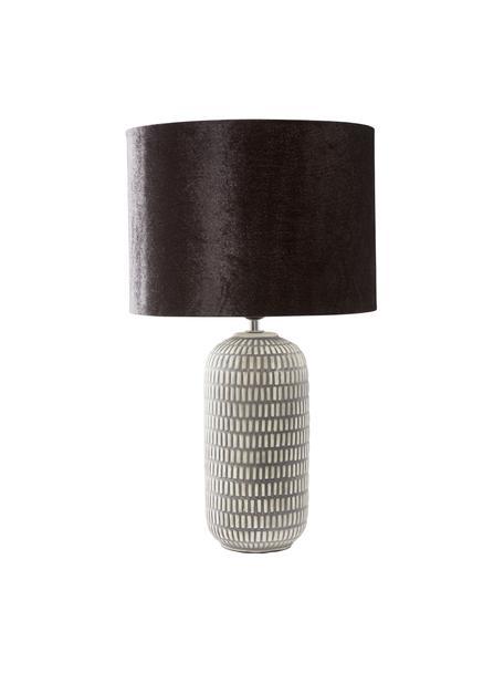 Grote keramische tafellamp Svensson met fluwelen lampenkap, Lampenkap: fluweel, Lampvoet: keramiek, Zwart, grijs, Ø 30 x H 53 cm