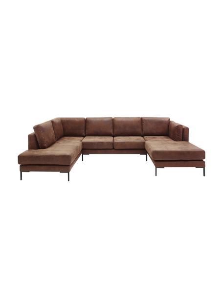 Sofa narożna w stylu vintage Seattle, Tapicerka: 100% poliester, Stelaż: drewno naturalne, płyta w, Nogi: drewno naturalne, Jasny brązowy, S 242 x G 86 cm