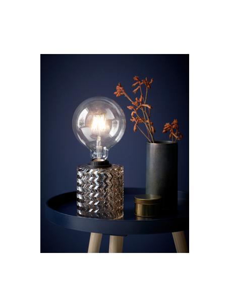 Lámpara de mesa pequeña de vidrio Hollywood, Cable: cubierto en tela, Dorado, Ø 11 x Al 13 cm
