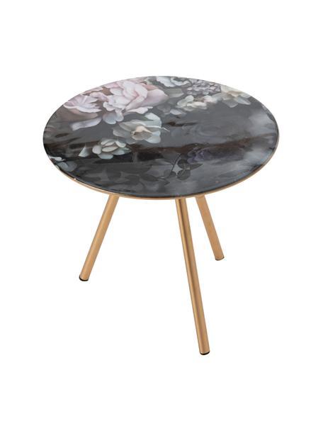 Stolik pomocniczy Rosa, Blat: szkło, Stelaż: drewno naturalne, Czarny, odcienie złotego, wielobarwny, S 41 x G 41 cm