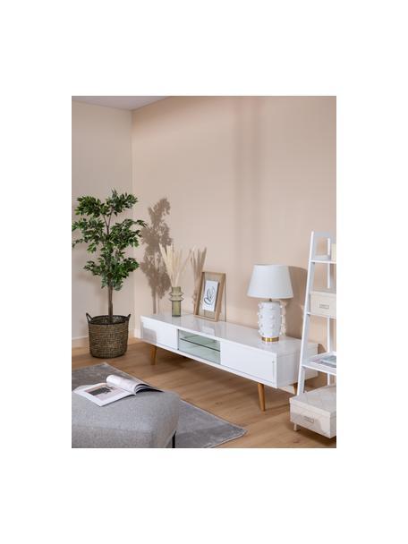 Mobile TV bianco lucido Cassie, Gambe: legno di frassino massicc, Ripiano: vetro, Bianco, marrone, Larg. 180 x Alt. 46 cm