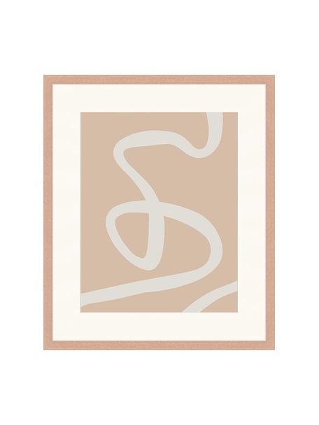 Lámina decorativa Abstract Beige Drawing, Madera, blanco, An 53 x Al 63 cm