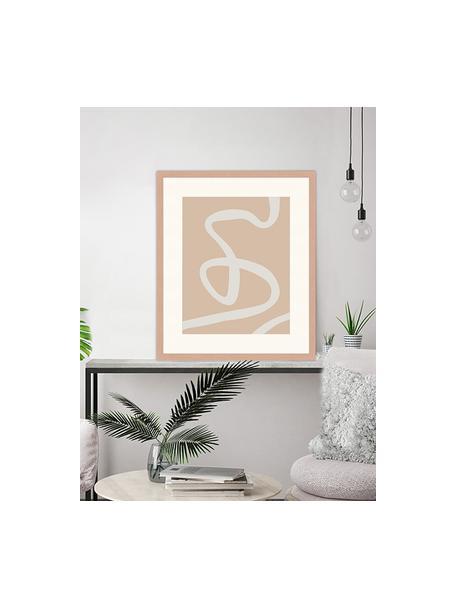 Impresión digital enmarcada Abstract Beige Drawing, Madera, blanco, An 53 x Al 63 cm
