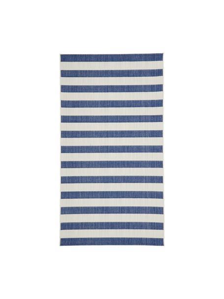 Gestreept in- & outdoor vloerkleed Axa in blauw/wit, 86% polypropyleen, 14% polyester, Crèmewit, blauw, B 80 x L 150 cm (maat XS)