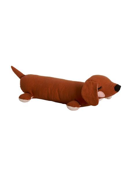 Peluche bassotto in cotone organico Lazy Puppy, Marrone, Larg. 50 x Alt. 10 cm