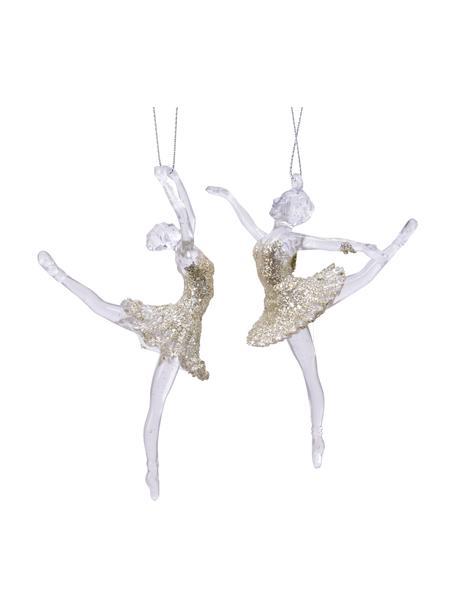 Adornos navideños irrompibles Ballerina, 2uds., Adornos: plástico, Dorado, blanco, Ø 9 x Al 13 cm