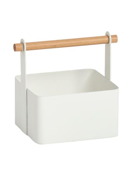 Aufbewahrungskorb Ledina, Korb: Metall, beschichtet, Griff: Buchenholz, Weiß, Buchenholz, 15 x 16 cm