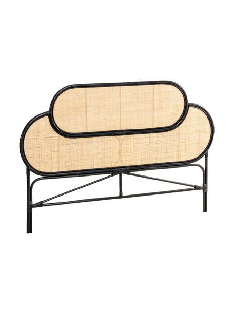 Rotan hoofdeinde Lalita, Frame: gelakt rotan, Tafelblad: rotan vlechtwerk, Beige, zwart, 170 x 120 cm