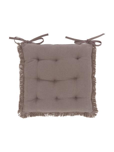 Cojín de asiento con flecos Prague, Gris pardo, An 40 x L 40 cm