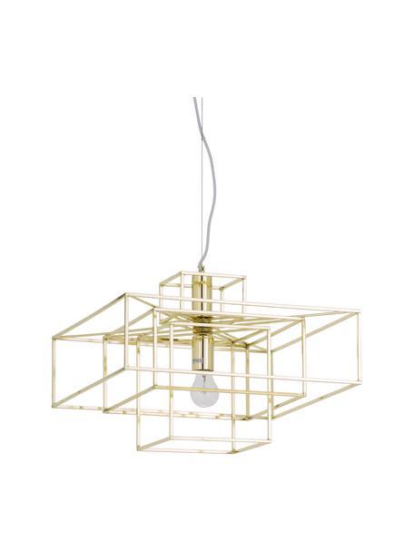 Lámpara de techo Cube, Pantalla: metal latón, Anclaje: metal latón, Cable: cubierto en tela, Latón, An 46 x Al 50 cm