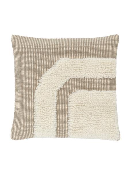 Handgewebte Kissenhülle Laine in Beige/Cremeweiß mit kuschligem Muster, Vorderseite: 90% Wolle, 10% Baumwolle, Rückseite: 100% Baumwolle, Beige, 45 x 45 cm