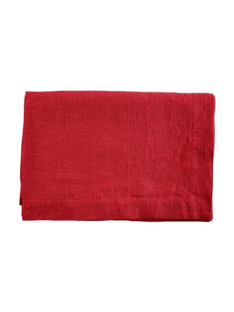 Leinen-Tischdecke Basic in Rot, Leinen, Rot, Für 4 - 6 Personen (B 170 x L 170 cm)
