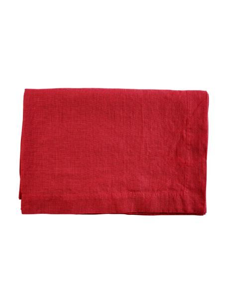 Obrus z lnu Basic, Len, Czerwony, Dla 4-6 osób (S 170 x D 170 cm)