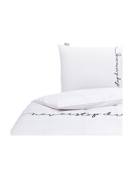 Renforcé dekbedovertrek Never Stop Dreaming, Weeftechniek: renforcé, Wit, zwart, 140 x 220 cm