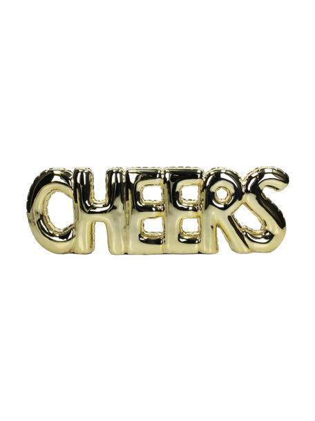 Deko-Objekt Cheers, Polyresin, Goldfarben, 42 x 14 cm