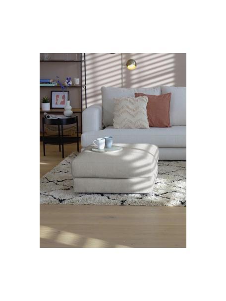 Voetenbank Tribeca in beigegrijs, Bekleding: polyester, Frame: massief grenenhout, Poten: massief gelakt beukenhout, Geweven stof beigegrijs, 80 x 40 cm