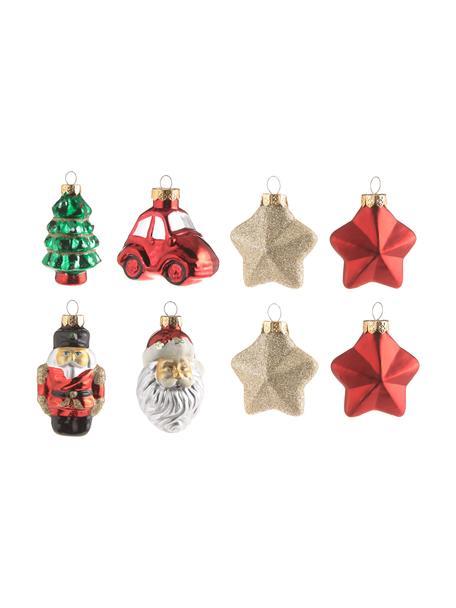 Baumanhänger-Set Santa aus Glas, 16 Stück, Mehrfarbig, Set mit verschiedenen Grössen