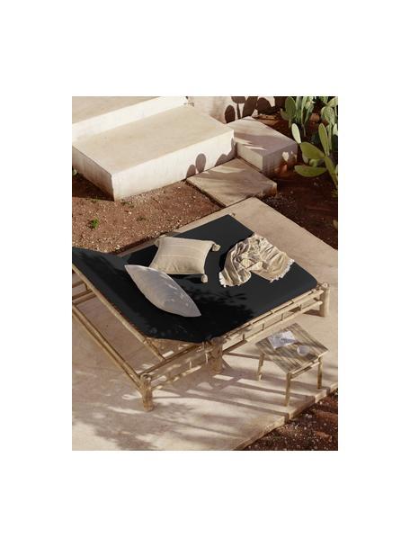 Leżak ogrodowy XL z drewna bambusowego Bambed, Stelaż: drewno bambusowe, Tapicerka: 100% bawełna, Ciemnyszary, brązowy, S 150 x D 210 cm