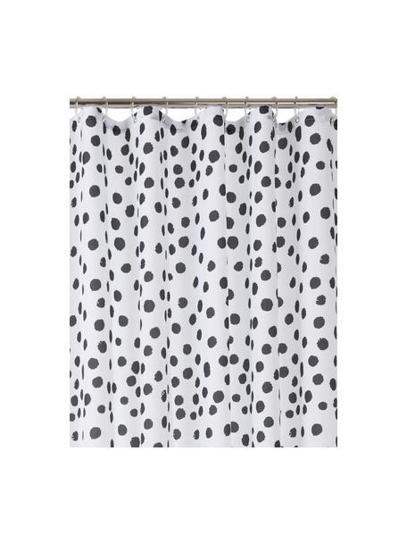 Douchegordijn Danja, met stippels, 100% polyester Waterafstotend, niet waterdicht, Wit, zwart, 180 x 200 cm