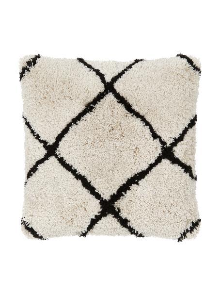 Flauschige Kissenhülle Naima in Beige/Schwarz, Vorderseite: 100% Polyester, Rückseite: 100% Baumwolle, Beige,Schwarz, 60 x 60 cm