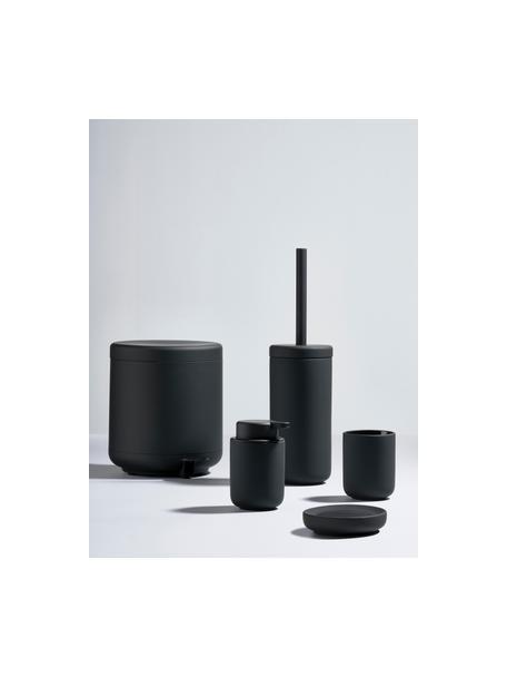 Toiletborstel Ume met keramische houder, Houder: keramiek overtrokken met , Mat zwart, Ø 10 x H 39 cm