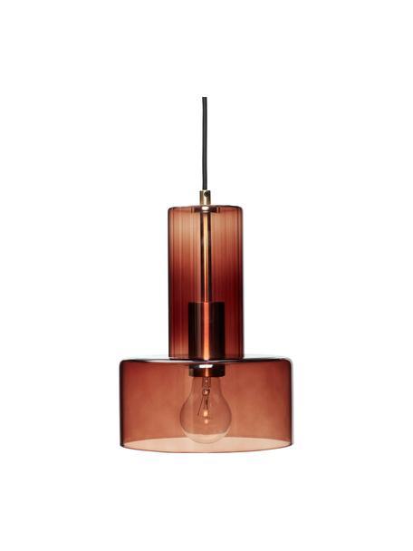 Lampada a sospensione in vetro Flowy, Paralume: vetro colorato, Struttura: ottone, Marrone trasparente, Ø 20 x Alt. 27 cm