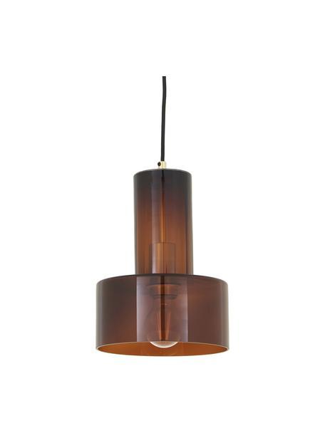 Kleine Pendelleuchte Flowy aus Glas, Lampenschirm: Glas, gefärbt, Baldachin: Messing, Braun, transparent, Ø 20 x H 27 cm