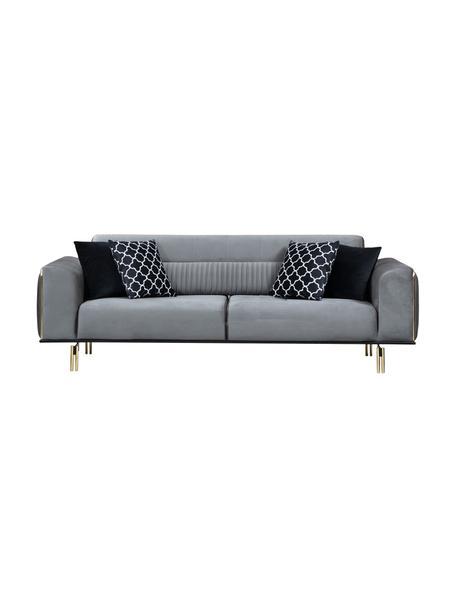 Sofa z aksamitu Daisy (3-osobowa), Tapicerka: 100% aksamit poliestrowy, Szary, czarny, odcienie mosiądzu, S 234 x G 97 cm